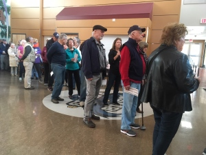 Residents wait in line for roughly 40 minutes at a Sidney advance voting station: Oct 11, 2019 (CTV News)