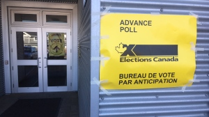 An advance voting station in Sidney is set up at North Saanich Middle School: Oct. 11, 2019 (CTV News)
