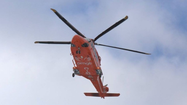 Air ambulance Ornge responds to an industrial injury on Dunlop Street in Barrie, Ont. on Thurs. June 24, 2021. (FILE IMAGE)