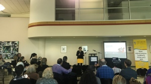 Cindy Blackstock gives a talk at the FNU. (Cally Stephanow / CTV Regina)