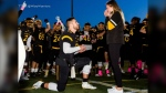 Quarterback proposes after Warriors game