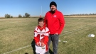 Connolly Gamble, left, and Hounds coach Matthew Zomer, right are pictured.