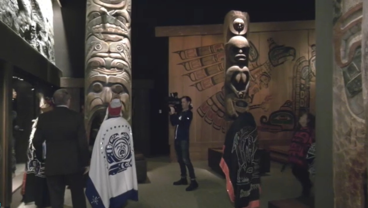 Nuxalk Nation members in the Royal BC Museum on Oct. 11, 2019.