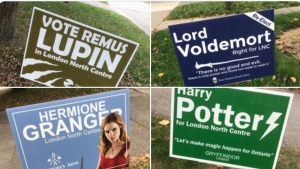 Fake election signs have 'magically' started showing up on one London, Ont. street which show Harry Potter, Lord Voldemort and Hermione Granger running this election cycle. (Wes Kinghorn/Twitter)