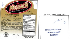 Nossack Fine Meats Ltd. recalled Butcher's Pride corned beef and pastrami on Oct. 12 due to a possible listeria contamination. One of the recalled products had a best before date of Nov. 27. (Courtesy: Canadian Food Inspection Agency)