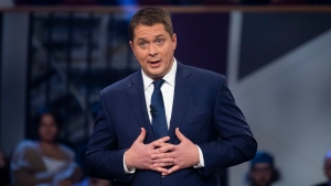 Conservative leader Andrew Scheer takes part in the the Federal leaders French language debate in Gatineau, Que. on Thursday, October 10, 2019. THE CANADIAN PRESS/Adrian Wyld