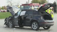 2 children sent to hospital after crash in Innisfi