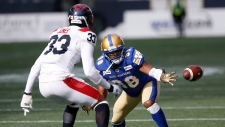 Winnipeg Blue Bombers' Rasheed Bailey (88) can't hang onto the pass as Montreal Alouettes' Jarnor Jones (33) defends during the first half of CFL action in Winnipeg, Saturday, Oct. 12, 2019. THE CANADIAN PRESS/John Woods