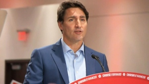 Liberal Leader Justin Trudeau speaks at a campaign rally in Mississauga, Ont. on Saturday, Oct. 12, 2019.
