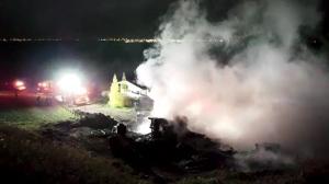 Fire crews respond to a fire on Pembina Avenue on Oct. 12, 2019. (Ryan Fletcher/CTV News Saskatoon)