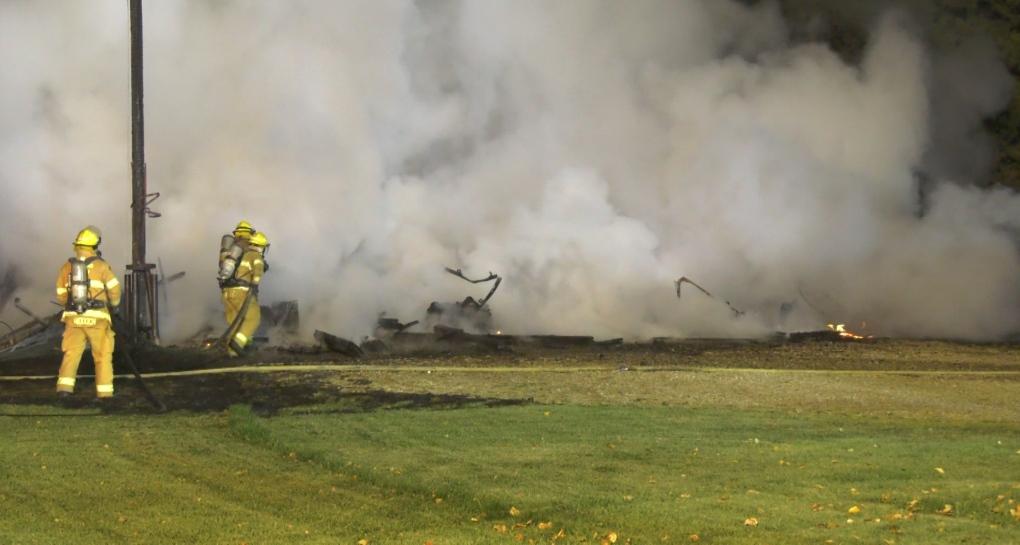 Crews battle blaze on rural property west of Edmonton