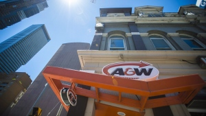 An A&W Restaurant in Toronto is photographed on July 9, 2018. The A&W Revenue Royalties Income Fund releases its third-quarter results and holds a conference call with analysts to discuss the results on Wednesday. THE CANADIAN PRESS/Tijana Martin