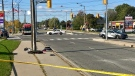 Emergency crews attend the scene where three pedestrians, including a young child, were struck by a car. (Francis Gibbs/CTV News Toronto)