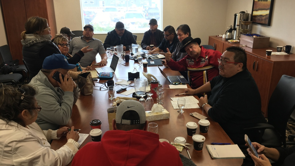Several First Nations Chiefs gathered in Winnipeg Sunday at a hotel to coordinate the response. (Photo: Beth Macdonell/CTV News)