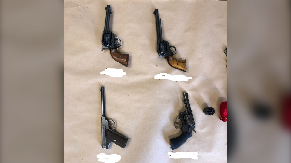 Mounties also seized a number of guns that were all loaded with matching ammunition. (Supplied)