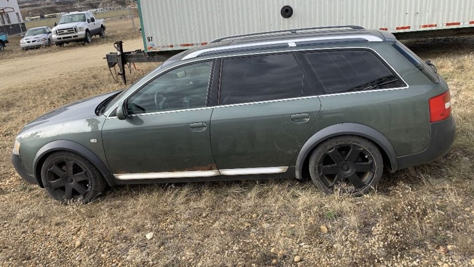 Drumheller RCMP are working with the Calgary Police Service to track the movements of this green Audi station wagon in Calgary and surrounding area over the past week. (Supplied)