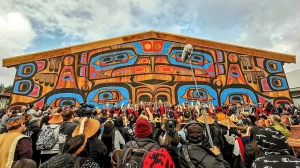 The community is kicking off five days of celebration in Bella Bella, B.C. today and is expecting as many as 2,000 guests from as far away as New Zealand to join to attend.The Big House took 18 months to build and is constructed entirely of red and yellow cedar from the territory, including eight-ton and four-foot-wide logs with wood that was locally sourced and milled. THE CANADIAN PRESS/HO-Charity Gladstone MANDATORY CREDIT