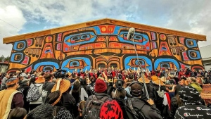 The community is kicking off five days of celebration in Bella Bella, B.C. today and is expecting as many as 2,000 guests from as far away as New Zealand to join to attend.The Big House took 18 months to build and is constructed entirely of red and yellow cedar from the territory, including eight-ton and four-foot-wide logs with wood that was locally sourced and milled. THE CANADIAN PRESS/HO-Charity Gladstone