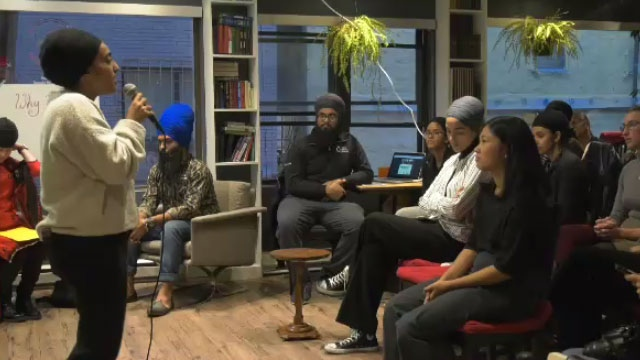 Members of Montreal's Sikh community gathered at an open mic event on Sun., Oct. 13, 2019 to discuss how the passing of Bill 21 has affected them.