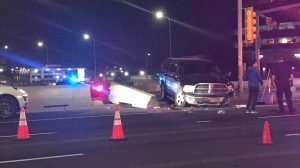At least four vehicles were involved in a crash on southbound Macleod Trail at the Glenmore Trail ramp Sunday, Oct. 13, 2019.