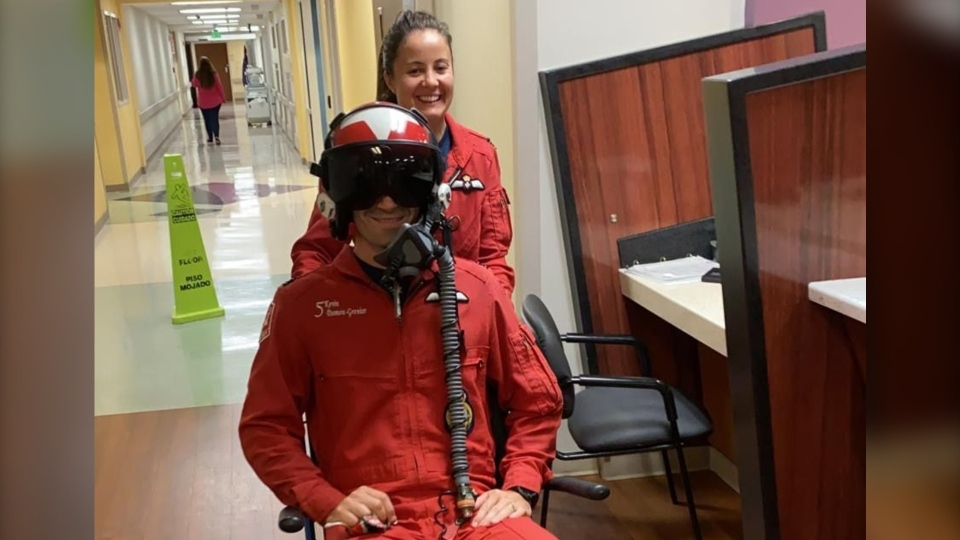 Late Sunday night, the Snowbirds tweeted that Capt. Kevin Domon-Grenier had been released from hospital (@CFSnowbirds/Twitter)
