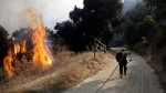 A firefighter runs up a fire road to hose down flames from a wildfire Saturday, Oct. 12, 2019, in Newhall, Calif. (AP Photo/Marcio Jose Sanchez)