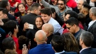 Liberal leader Justin Trudeau makes a whistlestop in Richmond Hill, Ont., on Sunday, Oct. 13, 2019. THE CANADIAN PRESS/Sean Kilpatrick