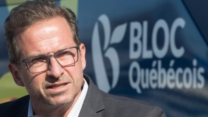 Bloc Quebecois leader Yves-Francois Blanchet speaks to reporters during a federal election campaign stop in Lachute, Que., Friday, October 11, 2019. THE CANADIAN PRESS IMAGES/Graham Hughes
