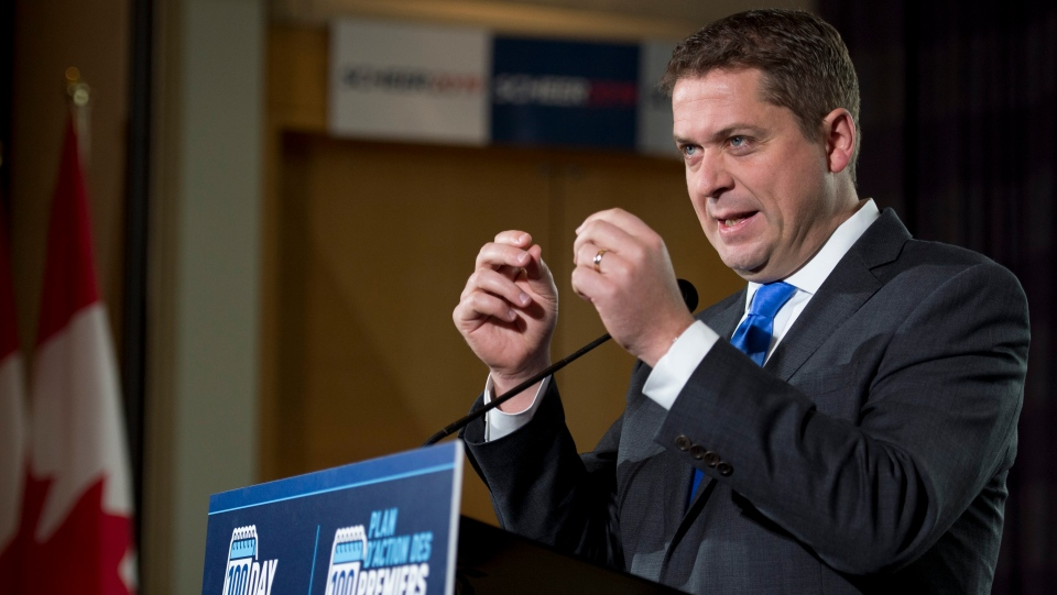 Conservative Leader Andrew Scheer delivers his morning announcement during a campaign stop in Burnaby, B.C. Saturday, October 12, 2019. THE CANADIAN PRESS/Jonathan Hayward