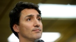 Liberal leader Justin Trudeau speaks to the media at a Thanksgiving food drive in Toronto on Sunday, Oct. 13, 2019. THE CANADIAN PRESS/Sean Kilpatrick