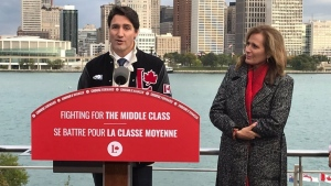 Justin Tudeau and Sandra Pupatello in Windsor Ont. on Oct. 14, 2019. (Angelo Aversa/CTV Windsor)