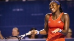 Cori 'Coco' Gauff jokes around during an exhibition match at the Winston-Salem Open tennis tournament, on Aug. 21, 2019. (Andrew Dye / The Winston-Salem Journal via AP)