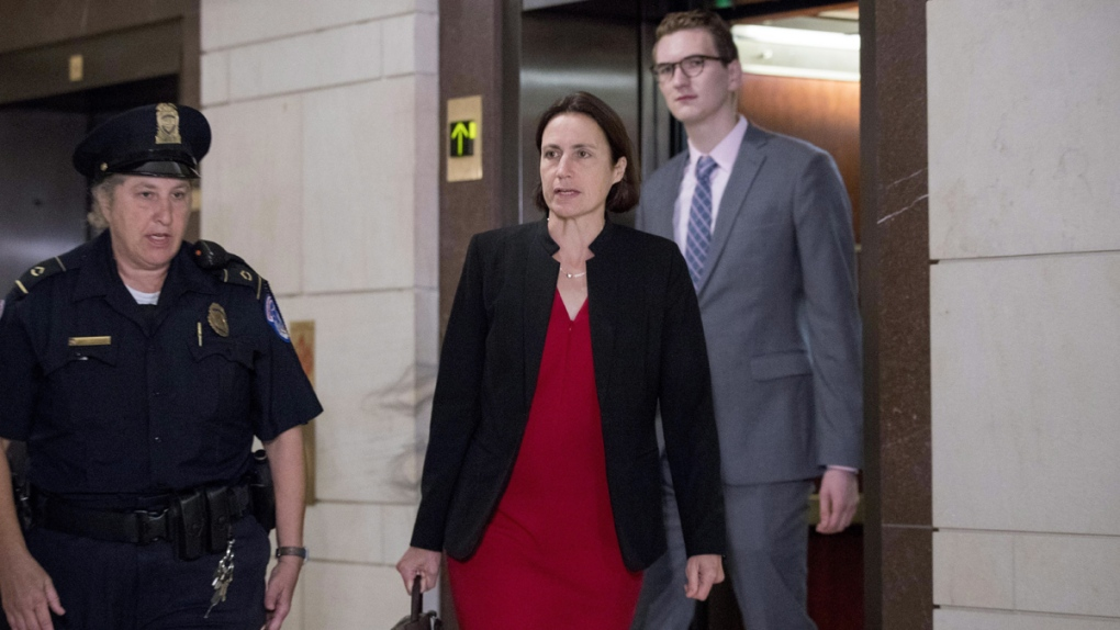 Fiona Hill arrives on Capitol Hill in Washington