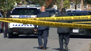 The scene of a fatal shooting in Etobicoke is seen. (CTV News Toronto)