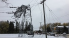 This hydro tower in Portage la Prairie, Man. suffered major damage from the storm. (Source: Manitoba Hydro)