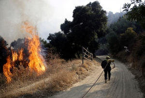 A firefighter runs up a road to hose down flames from a wildfire Saturday, Oct. 12, 2019, in Newhall, Calif. AP Photo/Marcio Jose Sanchez