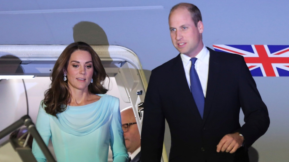Prince William and his wife Kate arrived at Nur Khan base in Islamabad, Pakistan, Monday, Oct. 14, 2019. They are on a five-day visit, which authorities say will help further improve relations between the two countries. (AP Photo/B.K. Bangash)