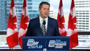 Andrew Scheer makes an announcement in Winnipeg