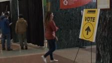 Voter at advance poll at Ottawa city hall.
