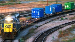 In this Sept. 29, 1994 file photo, a CSX Train with spent nuclear fuel passes through Florence, S.C., on its way to Savannah River Site Weapons Complex near Aiken S.C. (Jeff Chatlosh/The Morning News via AP, File)