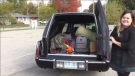 A Woodstock woman is using a hearse to help with a donation drive.
