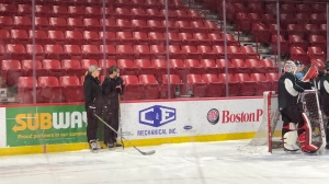 The first female coach in WHL history took to the ice for her first practice with the Moose Jaw Warriors. (Claire Hanna/CTV News)