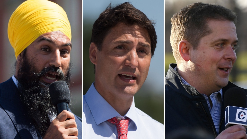 From left, NDP Leader Jagmeet Singh, Liberal Leader Justin Trudeau and Conservative Leader Andrew Scheer are seen in this composite image.