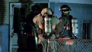 Firefighters put out a fire in a home on Avenue X South on Thanksgiving. (Ryan Fletcher/CTV Saskatoon)