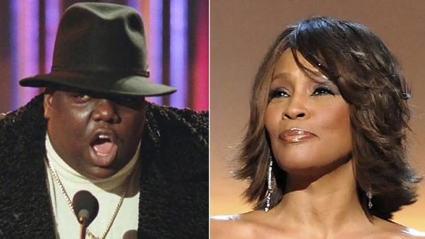 Notorious B.I.G., left, and Whitney Houston