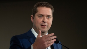 Conservative Leader Andrew Scheer speaks during a campaign stop in Winnipeg, Monday October 14, 2019. THE CANADIAN PRESS/Adrian Wyld