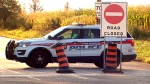 A York Regional Police cruiser is seen at the scene of a double fatal crash in Vaughan. (CTV News Toronto)