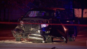 A 30-year-old woman was seriously injured Monday night in Sainte-Catherine when she crashed her car into a building. (Photo: Cosmo Santamaria CTV News)