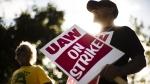 Union members picket outside a General Motors facility in Langhorne, Pa., on Sept. 16, 2019. (Matt Rourke / AP)
