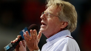 Talk show host Jerry Springer sings 'Take Me Out to the Ball Game' during the seventh inning of a baseball game between the Atlanta Braves and the San Diego Padres, Wednesday, Aug. 26, 2009. (AP / John Bazemore)